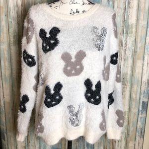 Sweaters - Bunny Print Fuzzy Sweater